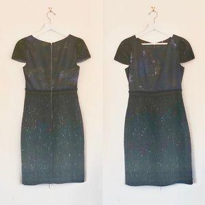 Elie Tahari Blue Lolly Silk Satin Tweed Dress
